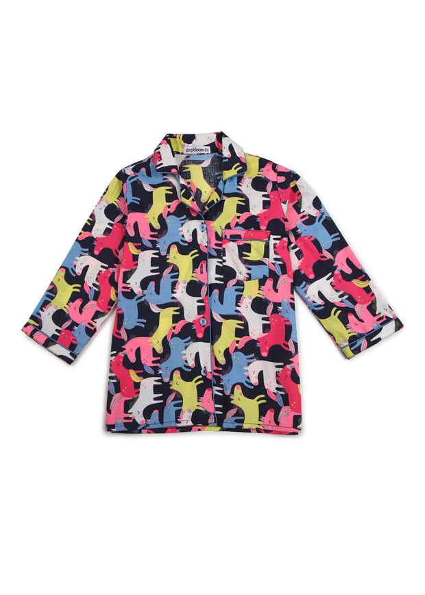 Colorful Unicorn Print Long Sleeve Kids Night Suit