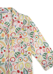 Fruit Basket Print Long Sleeve Kids Nightsuit