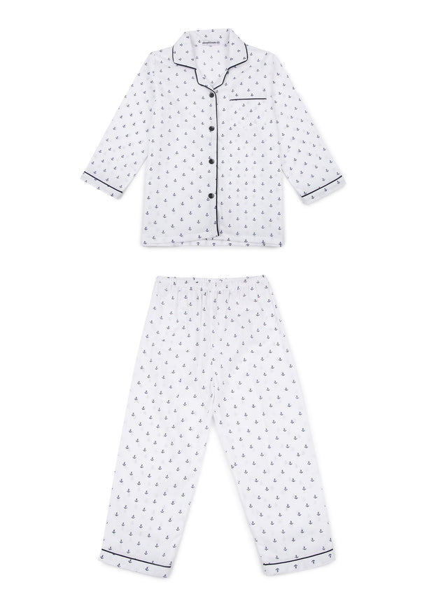 Small Anchor Print Long Sleeve Kids Nightsuit