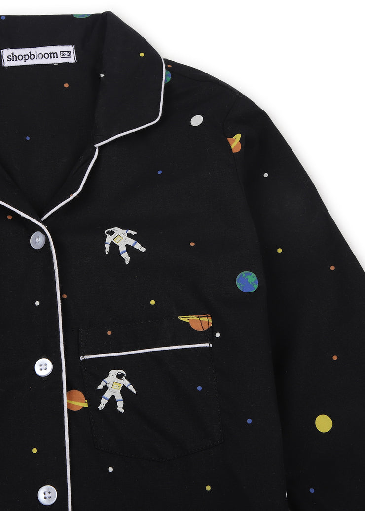 Space Print Long Sleeve Kids Night Suit