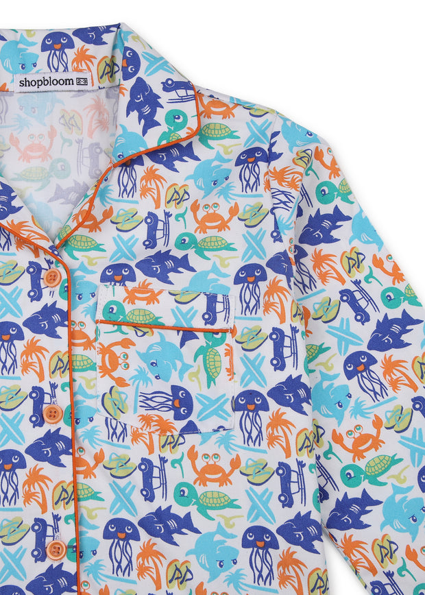 Oh Fish Print Long Sleeve Kids Nightsuit