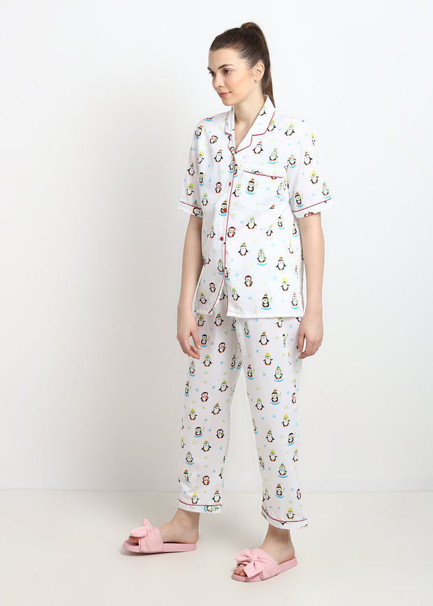 Penguin Print Short Sleeve Nightsuit
