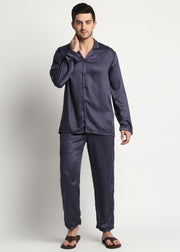 Ultra Soft Dark Grey Modal Satin Long Sleeve Men's Night Suit