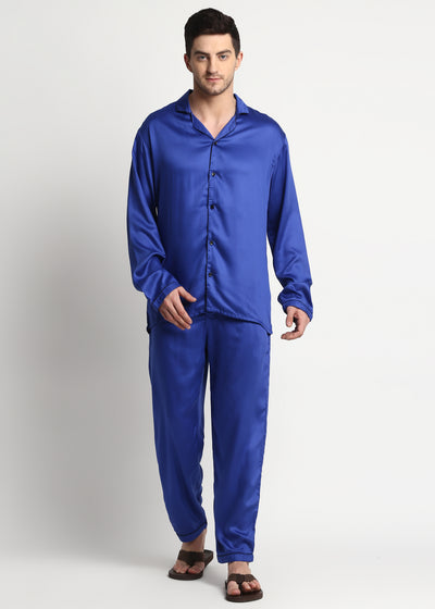 Ultra Soft Bright Blue Modal Satin Long Sleeve Men's Night Suit