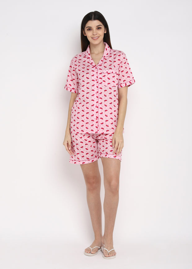 Pink Watermelon Print Shirt and Shorts Women's Set