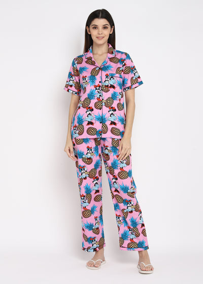 Mickey Mouse Print Short Sleeve Women's Night Suit