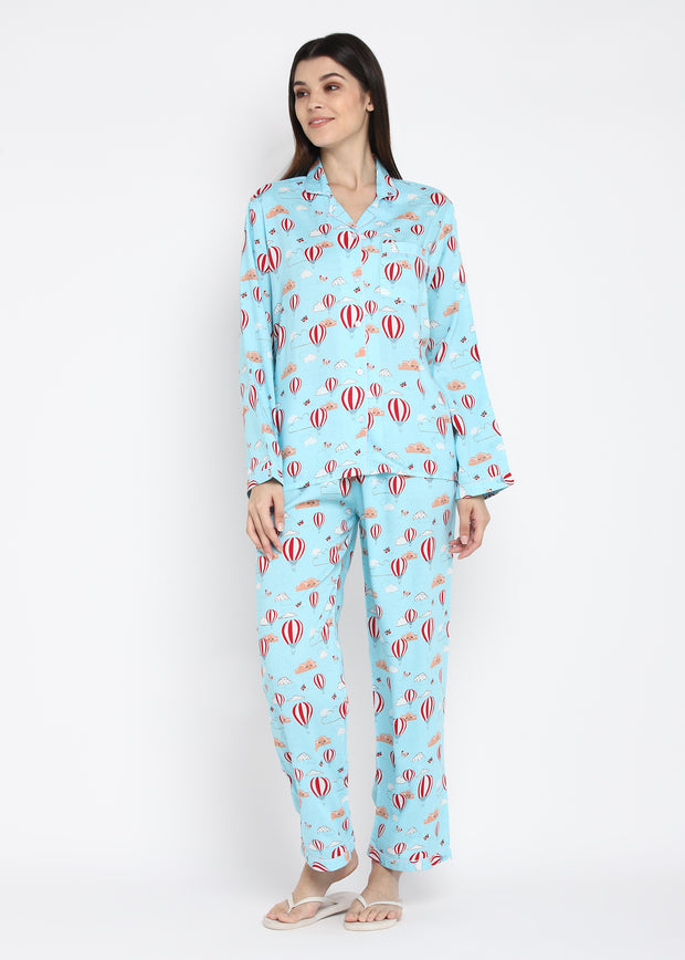 Blue Hot Air Balloon Print Long Sleeve Women's Night Suit
