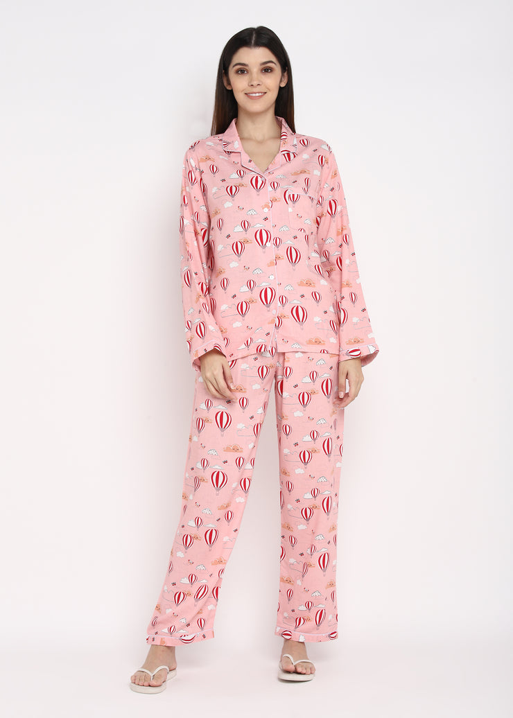 Pink Hot Air Balloon Print Long Sleeve Women's Night Suit