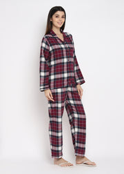 Maroon Check Long Sleeve Women' Night Suit