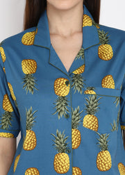 Pineapple Frenzy Print Short Sleeve Women's Night Suit
