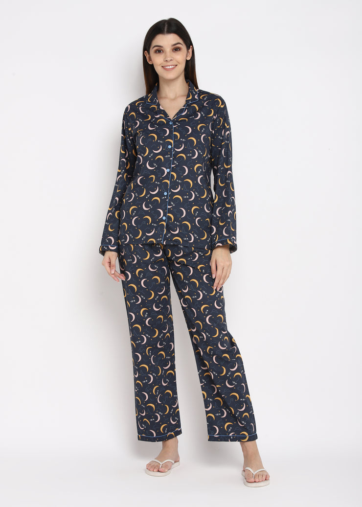 Constellation Print Long Sleeve Women's Night Suit