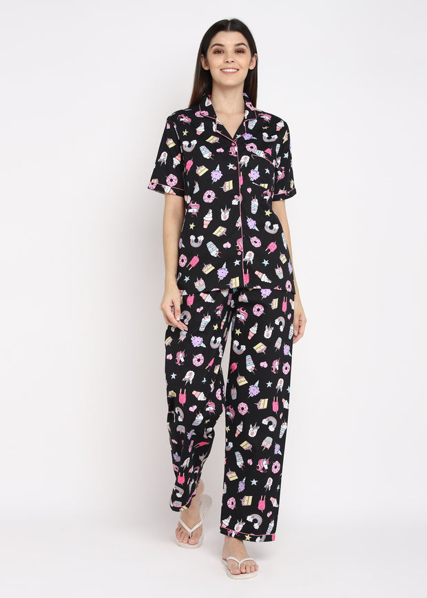 Black Unicorn Print Short Sleeve Women's Night Suit