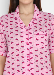 Pink Watermelon Print Short Sleeve Women's Night Suit