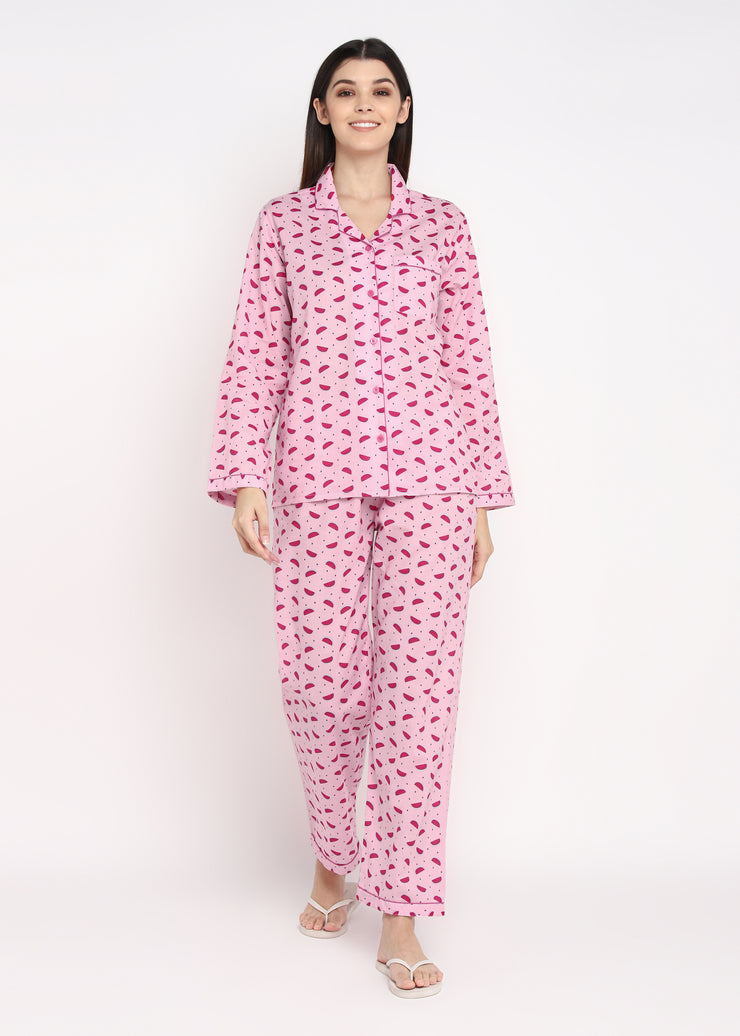 Pink Watermelon Print Long Sleeve Women's Night Suit