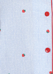 Strawberry Striped Print Long Sleeve Women's Night Suit