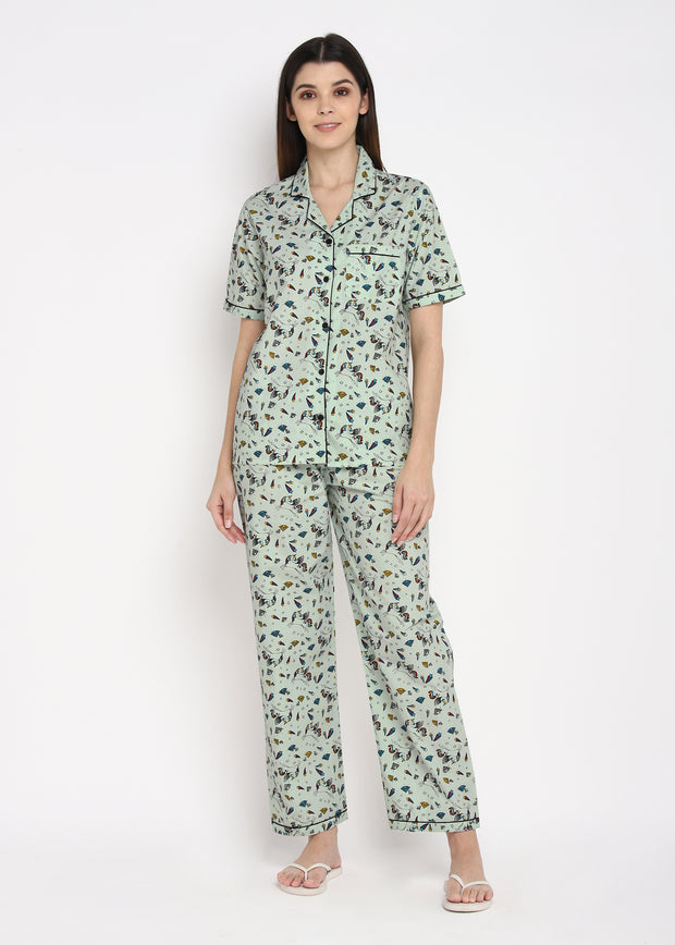 Unicorn Diamond Print Short Sleeve Women's Night Suit