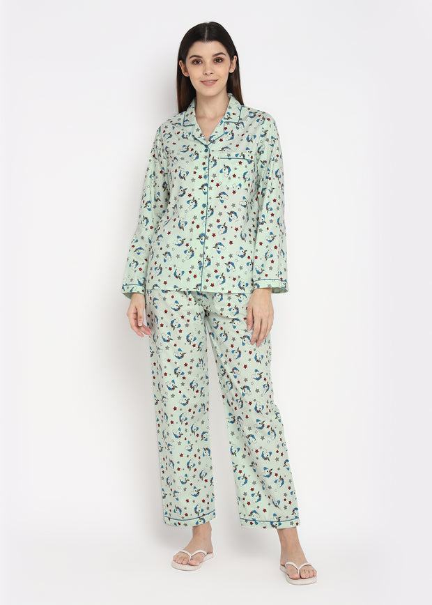 Unicorn Star Print Long Sleeve Women's Night Suit