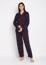 Cherry Land Print Long Sleeve Women's Night Suit