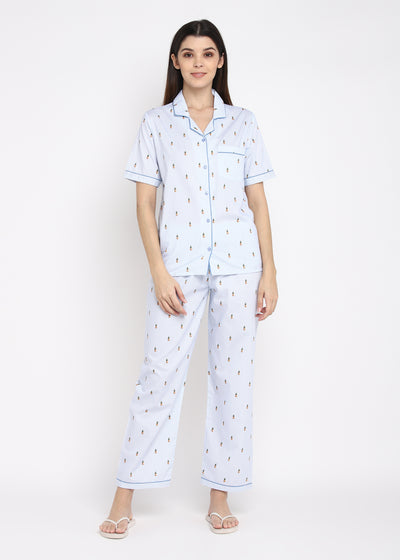 Pineapple Striped Print Short Sleeve Women's Night Suit