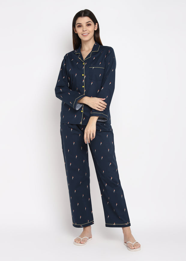 Parrot Print Long Sleeve Women's Night Suit