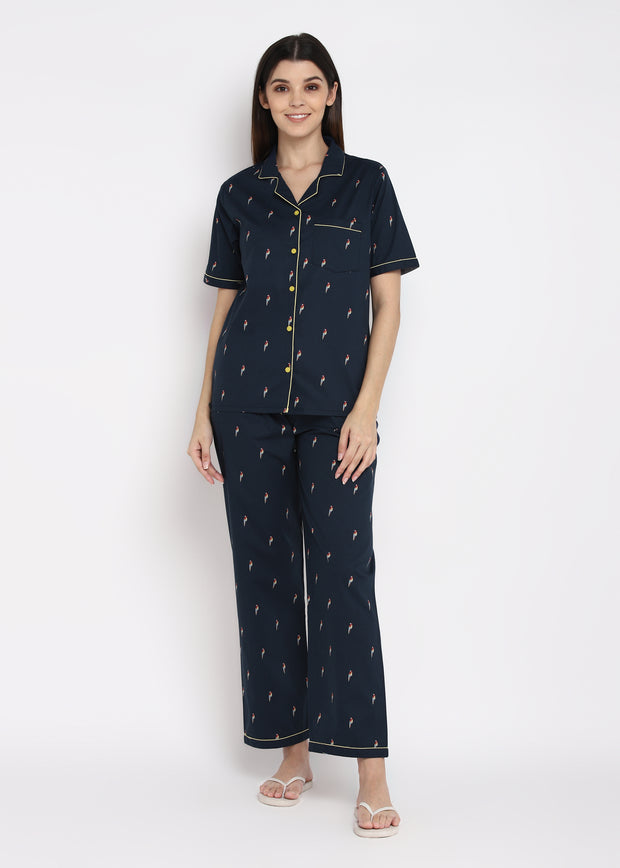 Parrot Print Short Sleeve Women's Night Suit