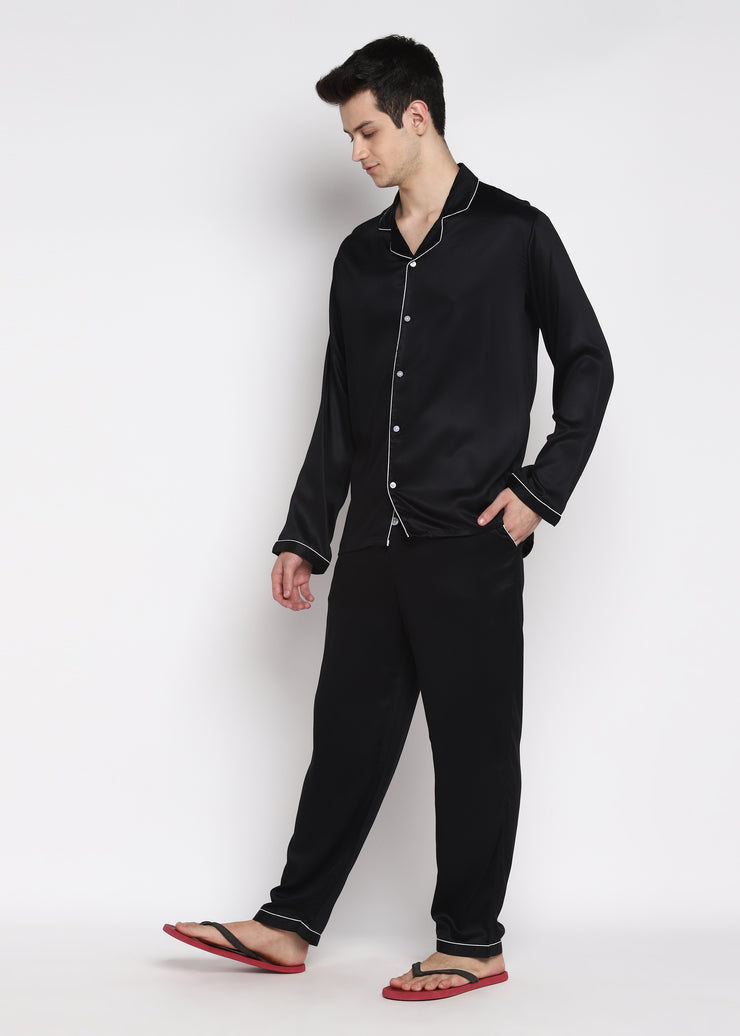 Ultra Soft Black Modal Satin Long Sleeve Men's Night Suit