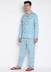 Blue Red Star Long Sleeve Men's Night Suit
