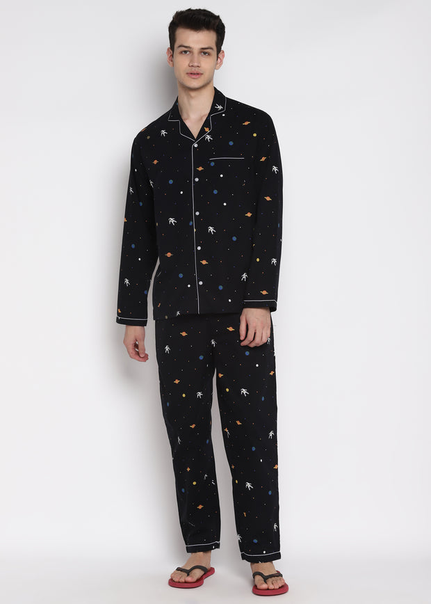 Space Print Long Sleeve Men's Night Suit