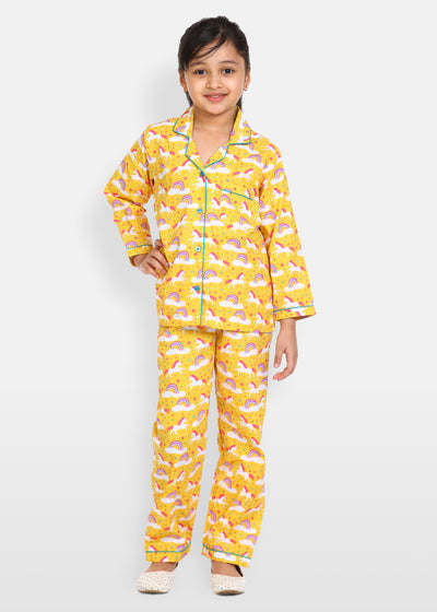 Yellow Unicorn Long Sleeve Kids Night Suit