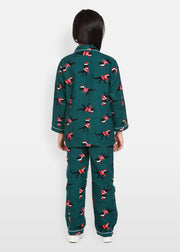 Christmas Dinosaur Flannel Print Long Sleeve Kids Night Suit