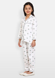 Princess Forever Print Long Sleeve Kids Night Suit