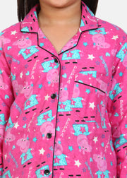 Pig Print Cotton Flannel Long Sleeve Kids Night Suit