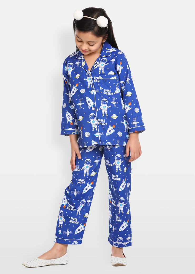 Space Mission Print Long Sleeve Kids Night Suit