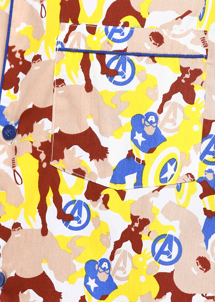 Avengers Print Long Sleeve Men's Night Suit