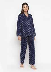 Candy Cane Print Long Sleeve Women's Night Suit