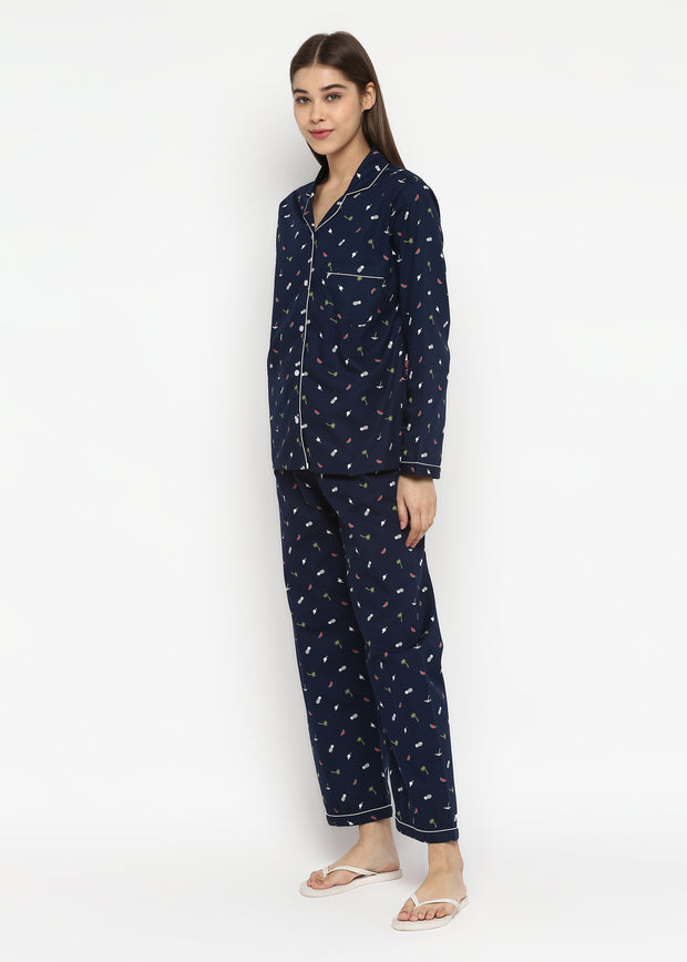 Watermelon And Pineapple On Blue Print Long Sleeve Women's Night Suit