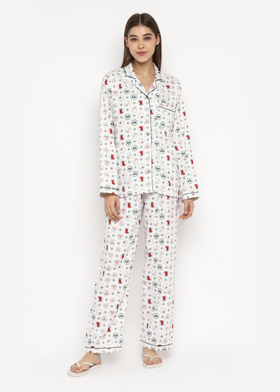 Christmas Spirit Print Cotton Flannel Long Sleeve Women's Night Suit
