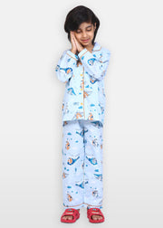Born to Fly Print Long Sleeve Kids Night Suit