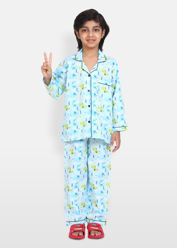 Dinosaurus Print Long Sleeve Kids Night Suit