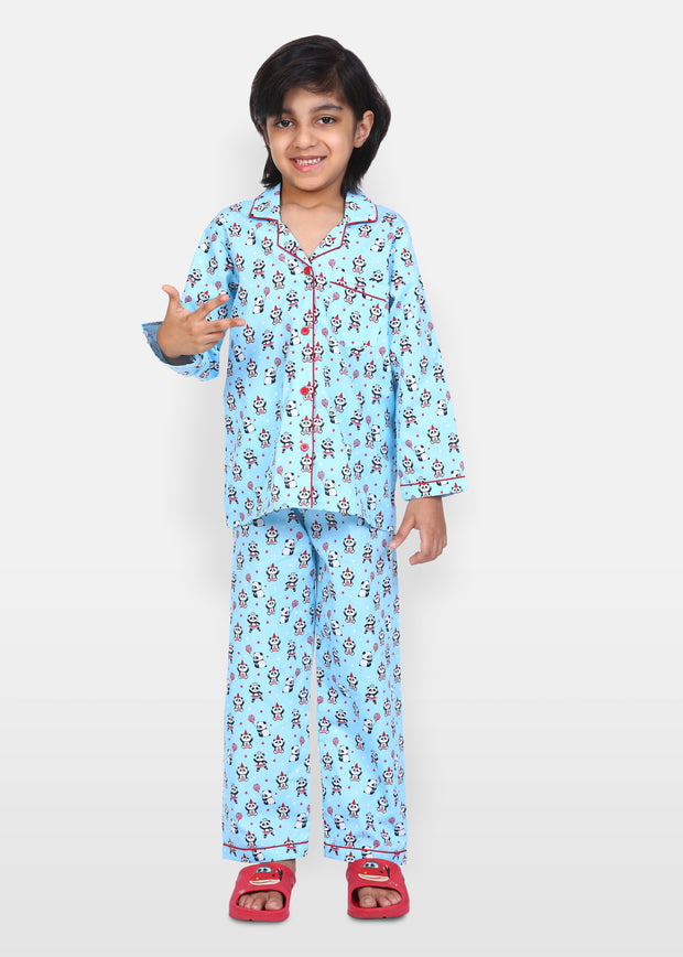 Playful Panda Print Long Sleeve Kids Night Suit