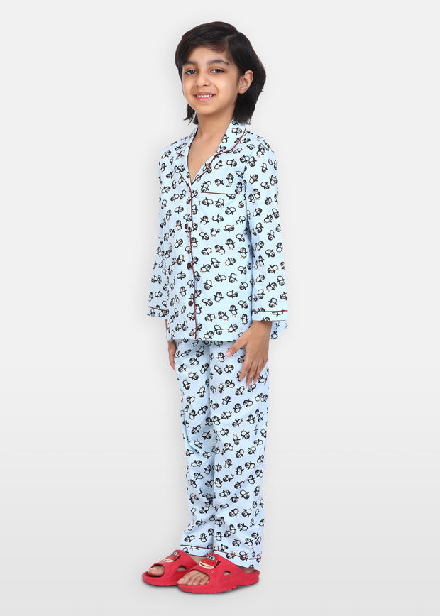 Penguin Love Print Long Sleeve Kids Night Suit