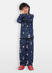 Astronaut in Space Print Long Sleeve Kids Night Suit