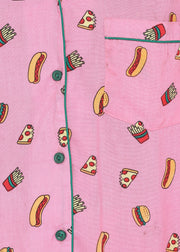 Pizza, Fries and Burger Print Long Sleeve Women's Night Suit