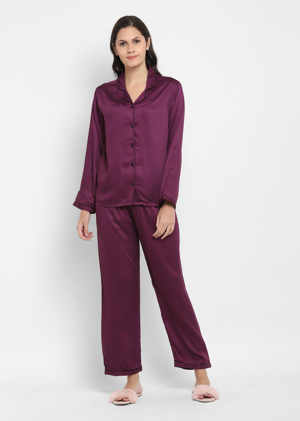 Ultra Soft Purple Modal Satin Long Sleeve Women's Night Suit