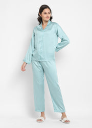 Ultra Soft Light Blue Modal Satin Long Sleeve Women's Night Suit