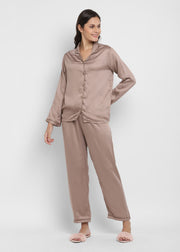 Ultra Soft Khaki Brown Modal Satin Long Sleeve Women's Night Suit