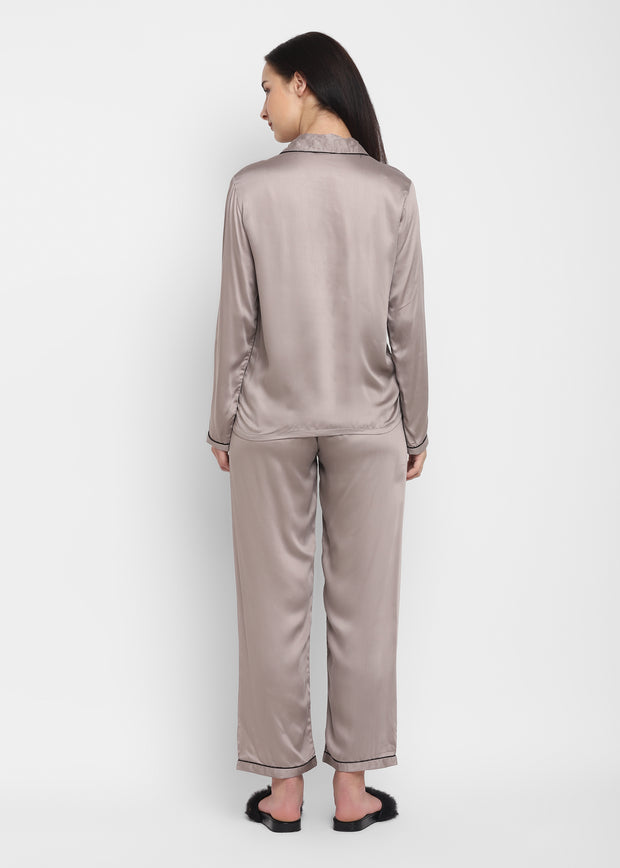 Ultra Soft Light Grey Modal Satin Long Sleeve Women's Night Suit