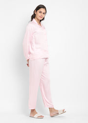 Ultra Soft Baby Pink Modal Satin Long Sleeve Women's Night Suit