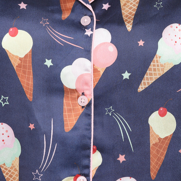 Ice Cream Print Satin Shirt and Shorts Women's Set