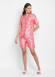 Nutella Print Satin Shirt and Shorts Women's Set